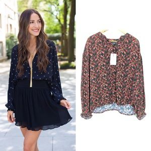 NWT Something Navy Easy Volume Floral Top